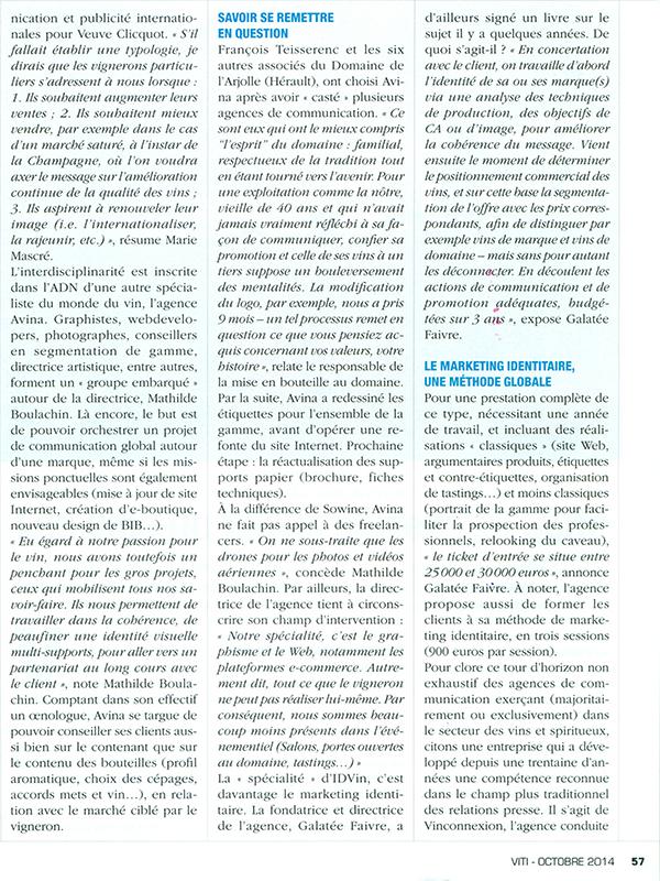 La mise en scène de l'identité - Viti n°401 - Octobre 2014